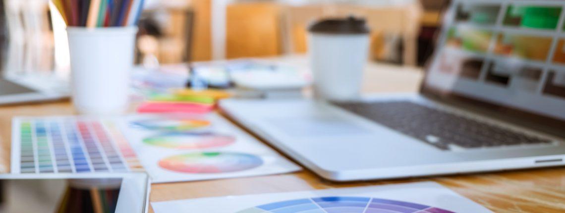 computer, color palettes, colored pencils