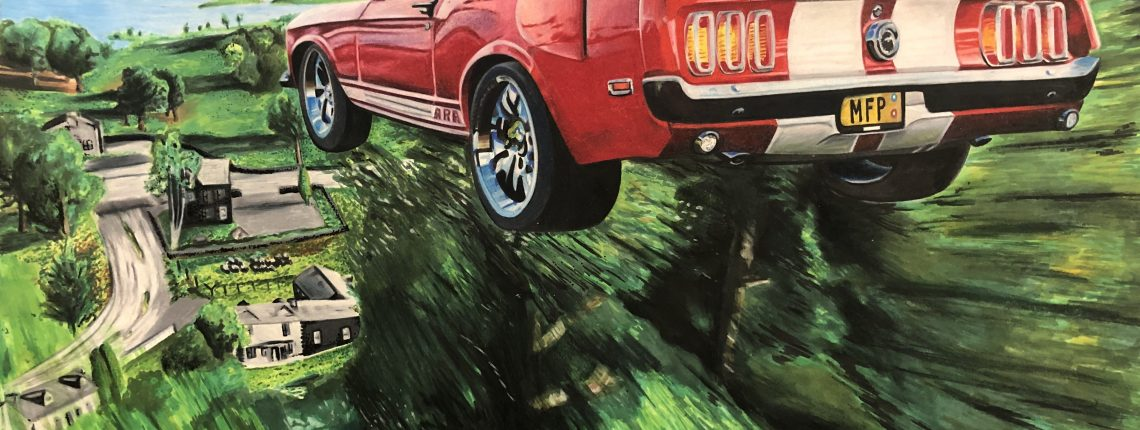 student art -- mustang flying though the air