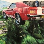 Painting of car flying over village