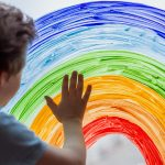 Child fingerpaints a rainbow on a window