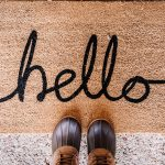 "welcome mat that says, ""hello"""
