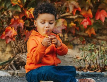Little boy playing with a leaf