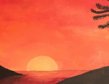Painting of two people holding hands at sunset.