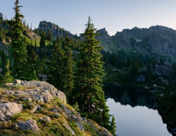 Scenic view of trees, lake, and mountain